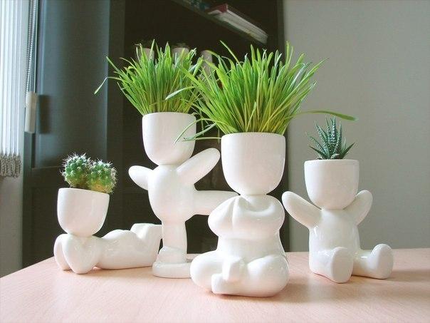 Image to the word горшочки,  Pictures gallery of Zingi, для дома, Не знаю как в будущем, но пока что растения делают кислород) милашные эко-человечки